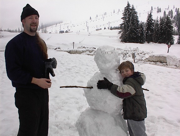 Kegan and Dad at Snoqualmie Pass, WA